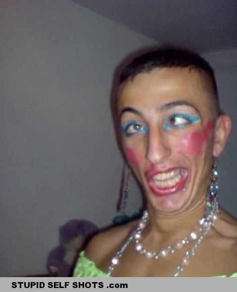 Self Shot Drunk Guy in Makeup