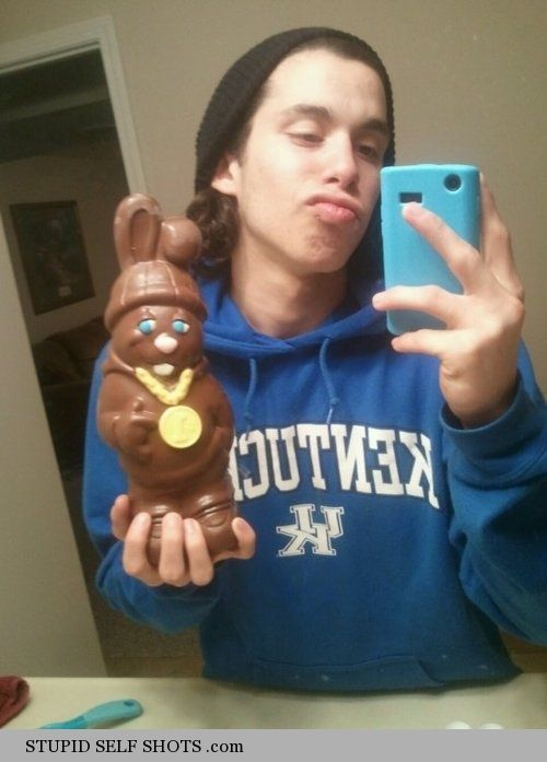 Gangsta chocolate bunny, mirror selfie
