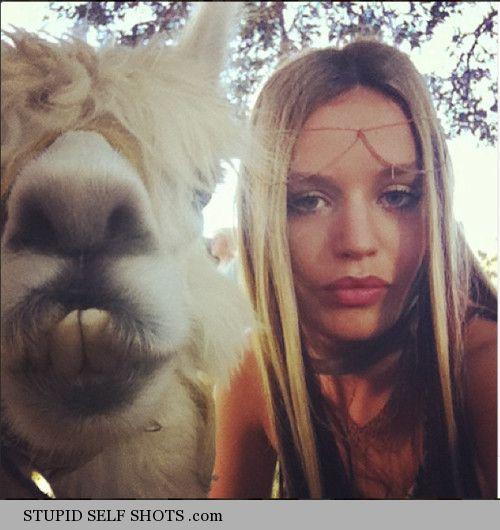 Georgia May Jagger, self shot with a llama