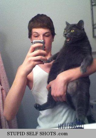 Get off my nuts! - Cat, mirror selfie