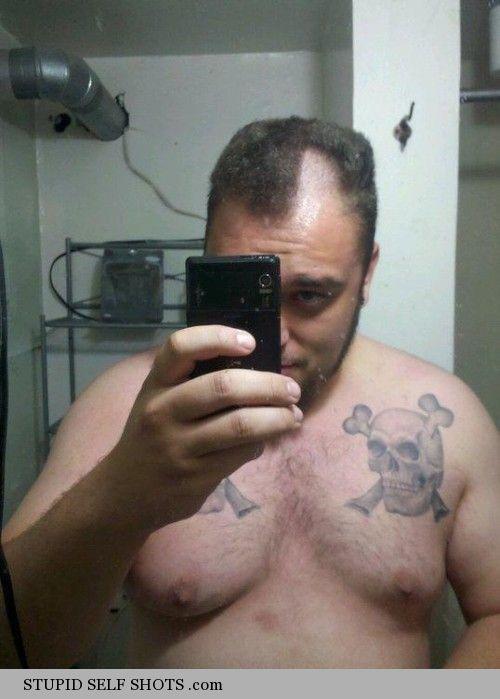 Man haircut fail self shot