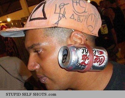 Coke Cola ear ring, selfie