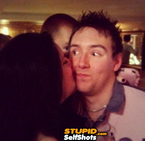 Creeper kiss self shot photobomb