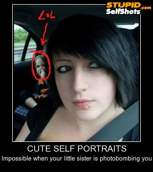 Cure car portrait self shot, photobomb