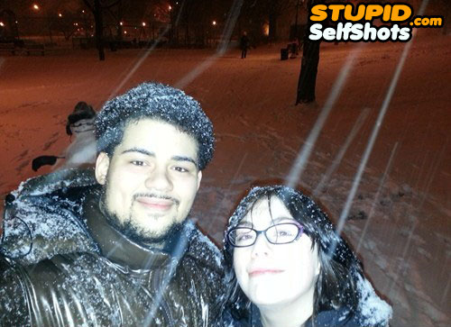 Self shot photobombed by a snow man