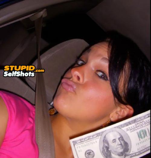 $100, duck face self shot fail