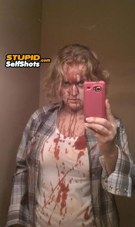 Bloody Halloween costume, self shot