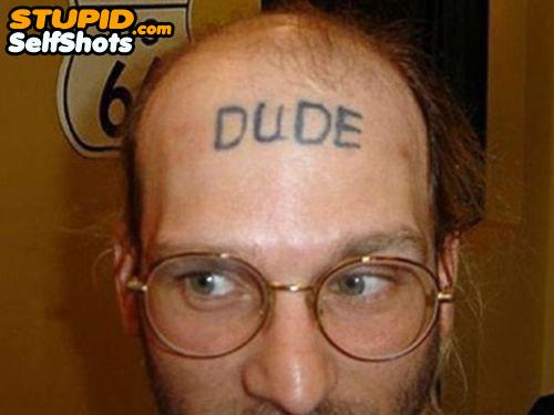 Dude forehead tattoo fail, self shot
