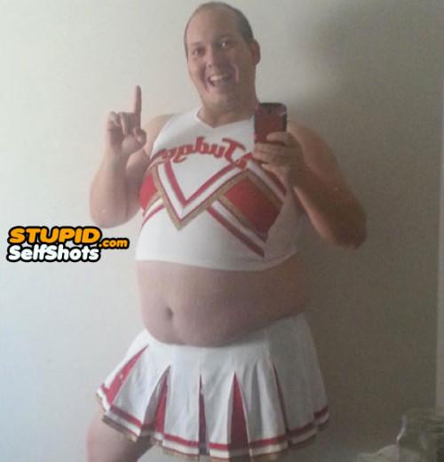 EW! Fat cheerleader man, self shot fail