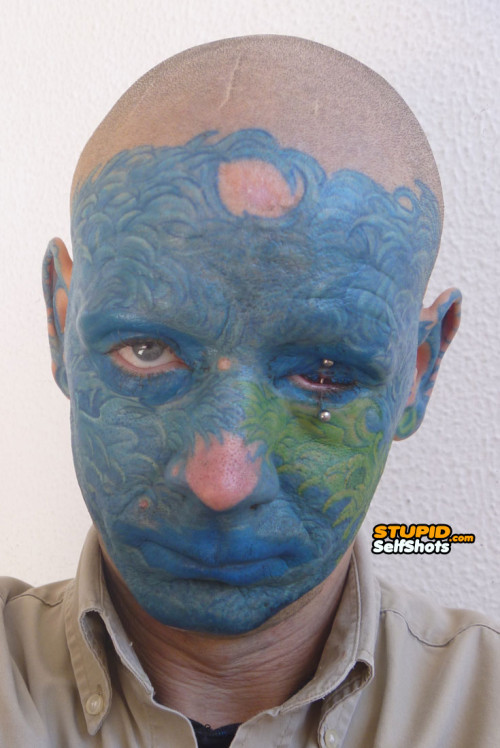 Eye piercing, face tattoo self shot fail