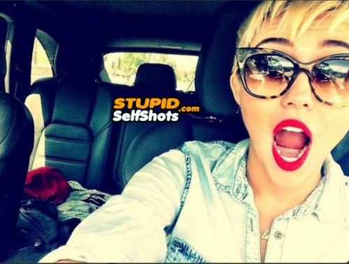 Miley Cyrus, driving self shot fail