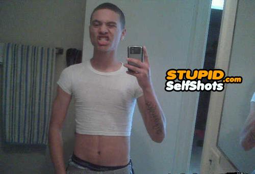 Tight shirt, selfie fail