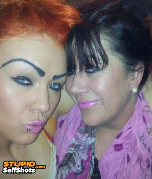 Crazy eyebrows and duckface, double fail selfie