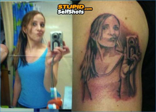 Duckface Self Shot tattoo fail