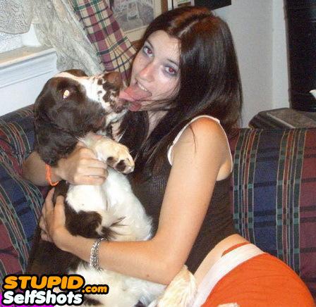 Girl kissing a dog, webcame self shot fail