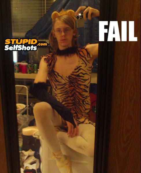 Guy in a tiger costume, fail, self shot