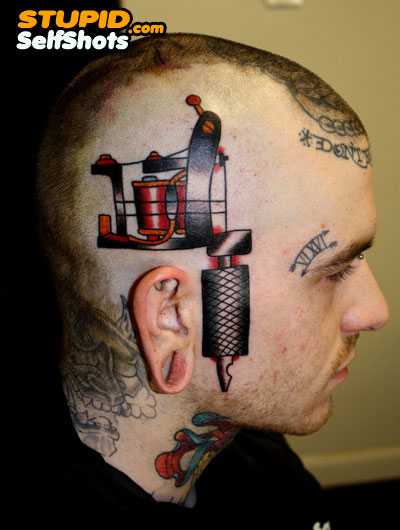 Idiotic head tattoo, self shot