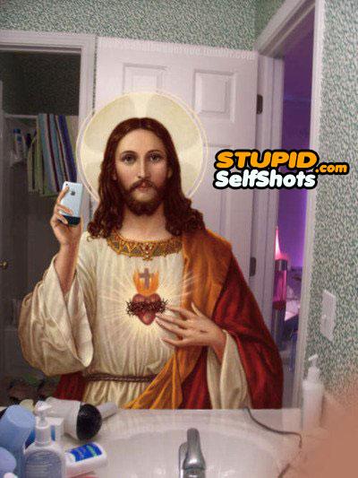 Jesus, bathroom mirror self shot