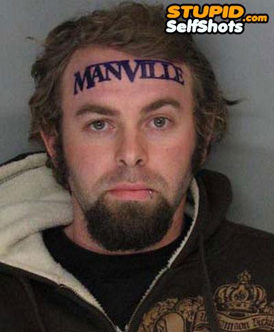 Manville forehead tattoo, self shot