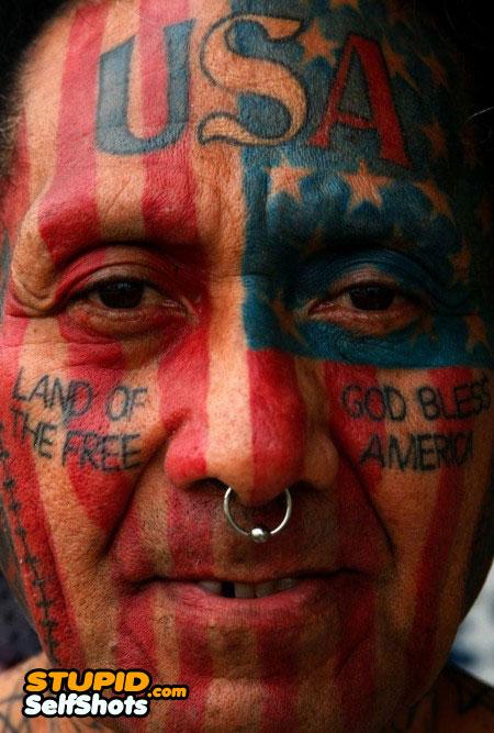 Patriotic face tattoo fail, selfie