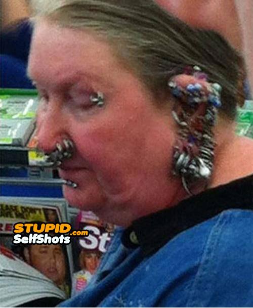 Taking piercings to the extreme, grandma self shot