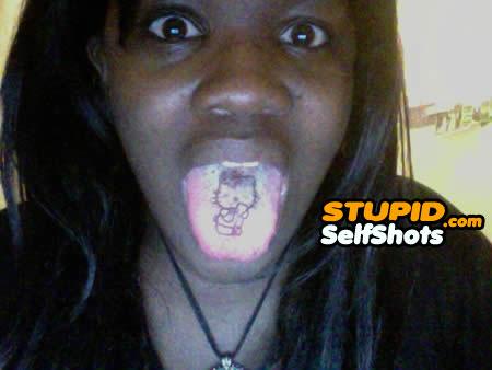 Hello Kitty tongue tattoo fail, self shot