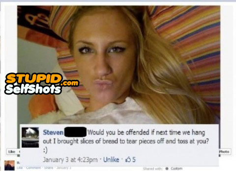 Funny facebook comment to a duckface selfie