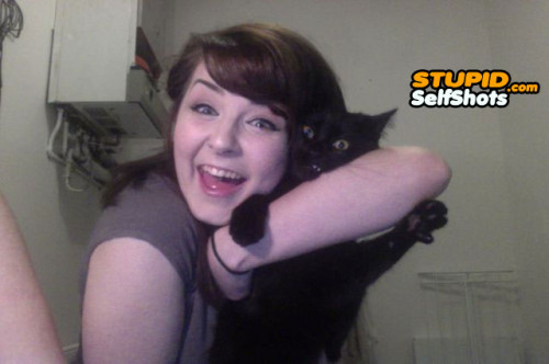 Kitty does not want to be in this webcam selfie