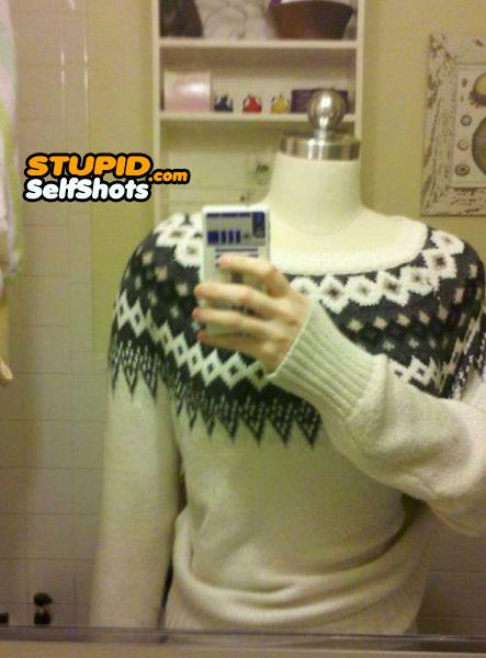 Mannequin bathroom selfie
