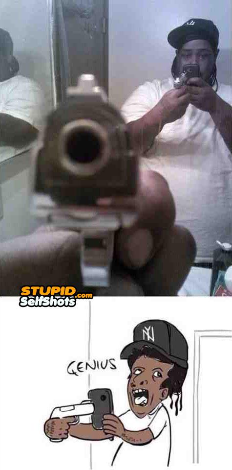 Pointing a gun at yourself, self shot fail