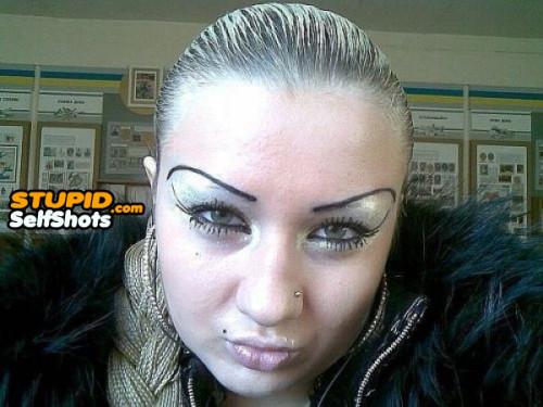 Russian girl eyebrows, selfie