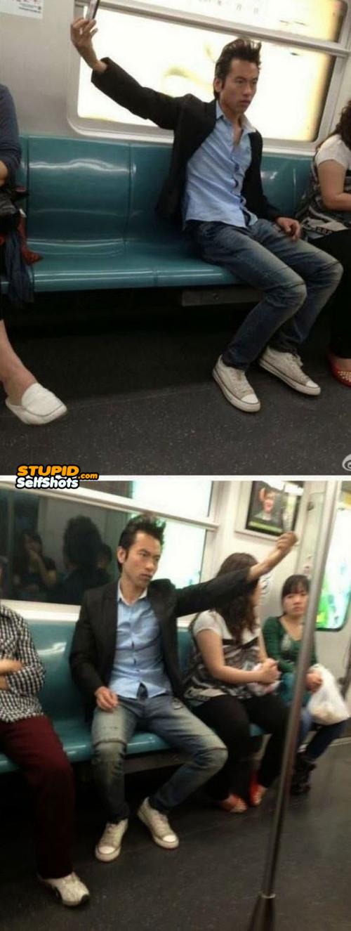Subway look away selfie fail